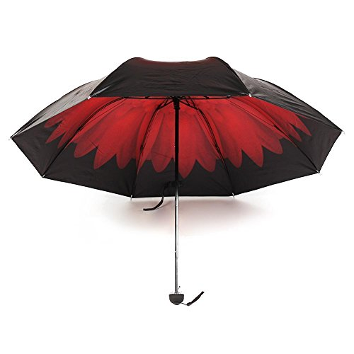 [BB Carmine Windproof UV Clear/Rain Korean Style Flower Princess Folding Umbrella] (Princess Tiny Feet Costume)