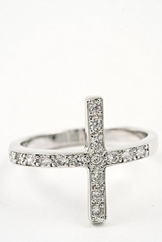 Trendy Fashion Jewelry Side Cross Ring By Fashion Destination | (Silver) (Prices Engagement Verragio Ring)