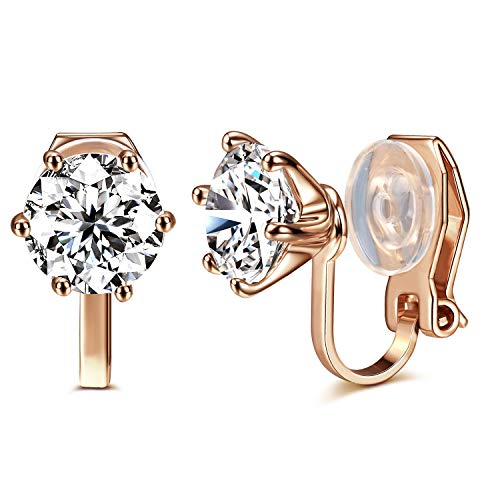 14K Rose Gold Plated 1.5 Carat CZ Clip-On Earrings - 7.5mm Round Cut Simulated diamond Clip-ons