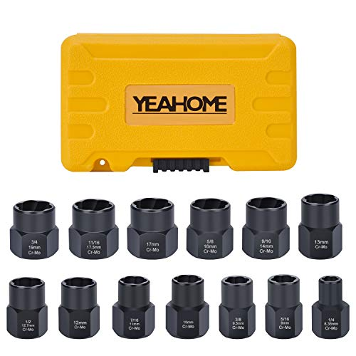 Bolt Extractor Nut Removal Tool – YEAHOME Black Oxide Impact Bolt & Lug Nut Remover Set 13 Pieces Extractor Socket Set Automotive Tools Fathers Day Gifts For Dad