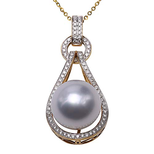 JYX Pearl Pendant Natural 13-14mm South Sea White Pearl Perfect Round 18K Gold Inlay Diamonds Pendant Luxury Necklace for Women