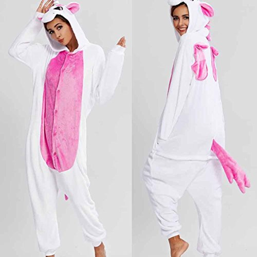 Women's Christmas Pajamas Hoodie Sleepwear Cosplay Animal Onesies Loungewear Pajamas Flannel (S, Pink) (Overlay Onesie Dress)