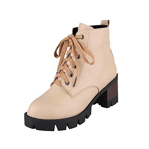 VogueZone009 Damen Hoher Absatz Rein Rund Zehe Blend-Materialien Schnüren Stiefel, Aprikosen Farbe, 38