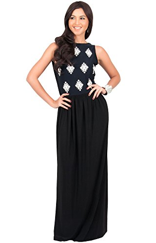 KOH KOH Plus Size Womens Long Sleeveless Lace Floral Print Casual Flowy Gown Designer Summer Office Wear to Work Day Sun Classic Vintage Maxi Dress, Color Black, Size 4X Large / 4XL / 26-28