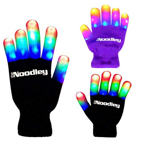 The Noodley Children LED Finger Light Gloves - Black/White Boys Toys & Kids Games