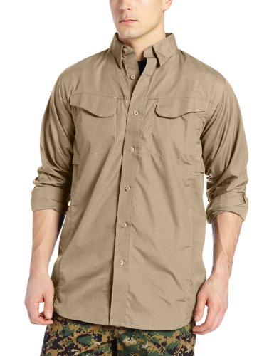 Tru-Spec Field Shirt, 24-7 Kh L/W P/C R/S l/S, Khaki, Medium/Large