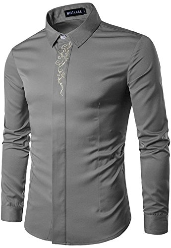 HOP Men's Casual Long Sleeve Solid Embroidery Slim Fit Button Down Dress Shirt for Business Work Wedding HOPM005-Grey-XXL by HOP