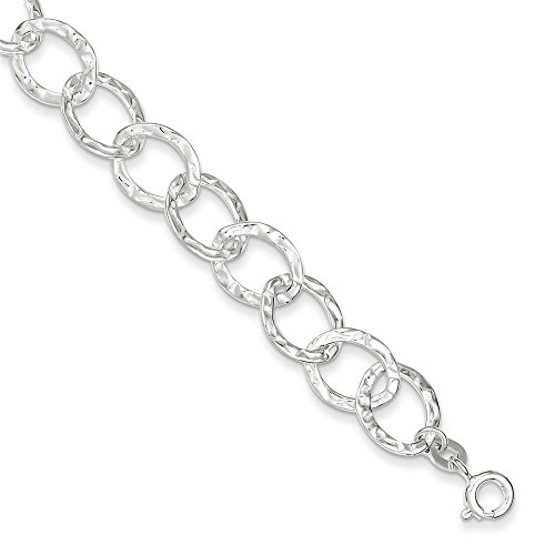 (Sterling Silver Polihed Hammered Oval Link Bracelet With Lobster Clasp Length 7.5 Inch)