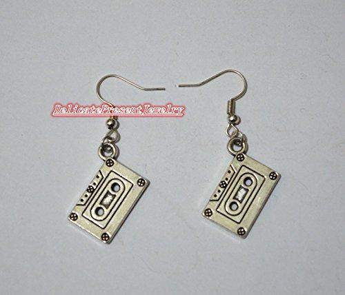 [DelicatePresentJewelry Handmade Silver Cassette Earrings, Cassette Jewelry,Cassette Music Tape Jewelry Earrings, cute] (1980s Tennis Costume)