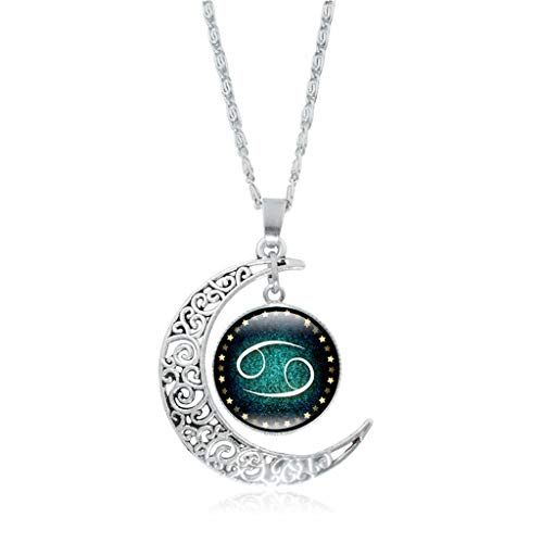 Clearance! Hot Sale! ❤ Fashion Women Twelve Constellations Charm Glass Dome Moon Pendant Necklace Under 5 Dollars Valentine's Day Gifts for Girlfriend