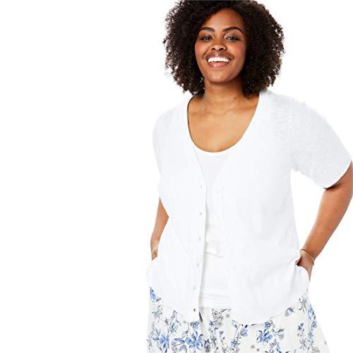 V-neck Sleeve Cardigan Short - Woman Within Women's Plus Size Short Sleeve V-Neck Cardigan - White, L
