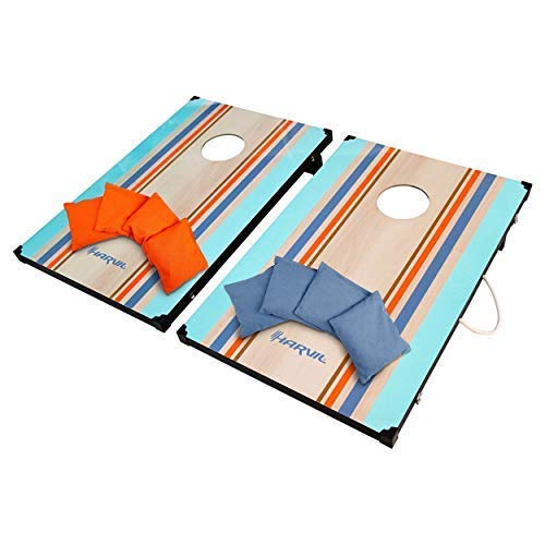 Harvil Classic Cornhole Bean Bag Toss Game Set with 8 Double-Lined All-Weather Bean Bags