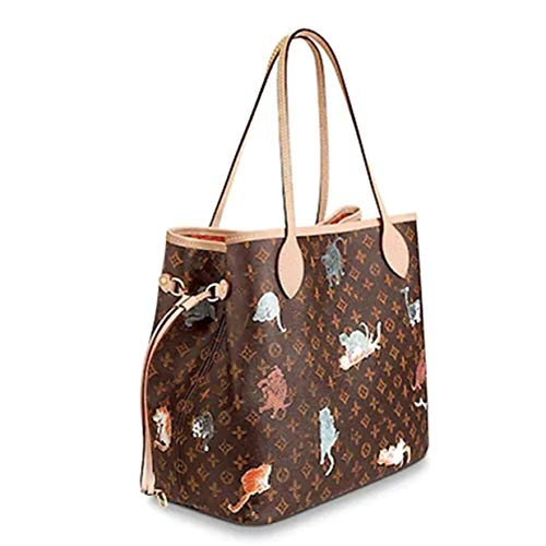 Leather House Woman Handbag Fashion Monogram Color Canvas Tote Shoulder Very Popular Bag Damier MM Brown(RedCat) 32x29x17cm