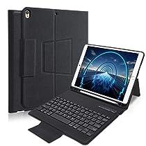 iPad Pro10.5 キーボードカバー iPad Air3 2019キーボードケース 超軽量 手帳型 高級PUレーザー オートスリープ機能 スタンド機能付き iPad10.5インチ対応カバー汎用 日本語説明書付き ブラック