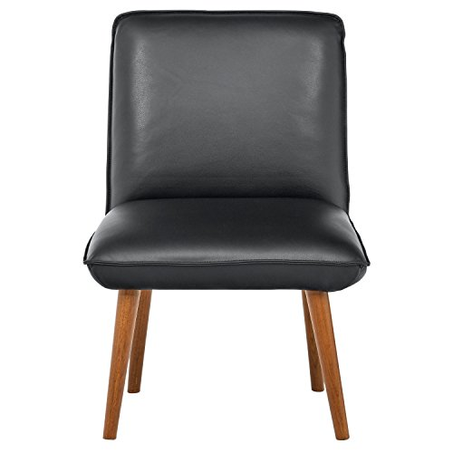 Rivet Wide Cushion Mid-Century Modern Top-Grain Leather Set of 2 Accent Dining Room Kitchen Chairs, 26.8 W, Black