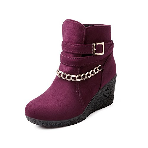 Allhqfashion Donna Low-top Solido Pull-on Tacco Chiuso Stivali Tacchi Alti Claret