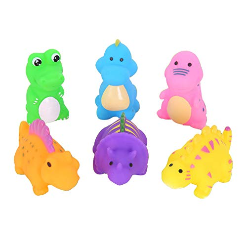 Leoy88 6Pcs Silicone Dinosaur Baby Bath Toys Cute Animal Water Bathing Shower Fun Toy
