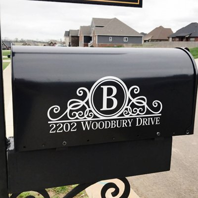 Maribeatty Mailbox Numbers Sticker Custom Made Your Name and Address Mailbox Sign Vinyl Lettering Decal Border Frame Decal Mailbox Decor ... (Mailbox Lettering)