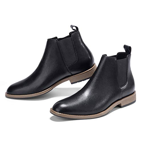 GM GOLAIMAN Men's Chelsea Boots Slip On - Dress Boot Fashion Work Office Prom Wedding Gifts Botas Invierno Hombre(1 Black-13 D (M) - Slip Mens On Leather Work Boots