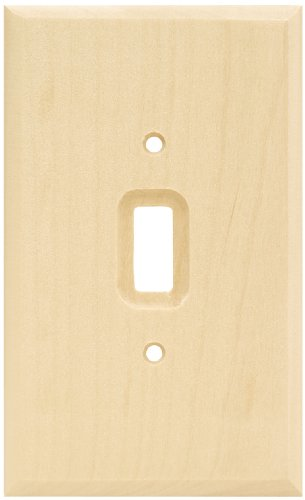 (Brainerd 64673 Wood Square Single Toggle Switch Wall Plate / Switch Plate / Cover, Unfinished)