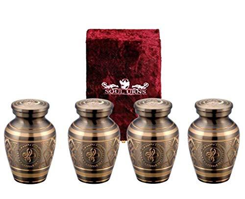 Funeral Keepsake Urns by SoulUrns - Set of 4 - Includes Superb Velvet Urn Case (Set of Four, Platinum Elegance)