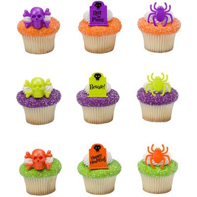 Halloween Party Haunted Assortment Cupcake Rings - 24 pc by Bakery Supplies (Graveyard Halloween Cupcakes)