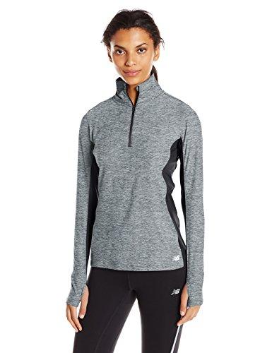 New Balance Women's Space Dye 1/4 Zip Shirt, Anthracite, Small