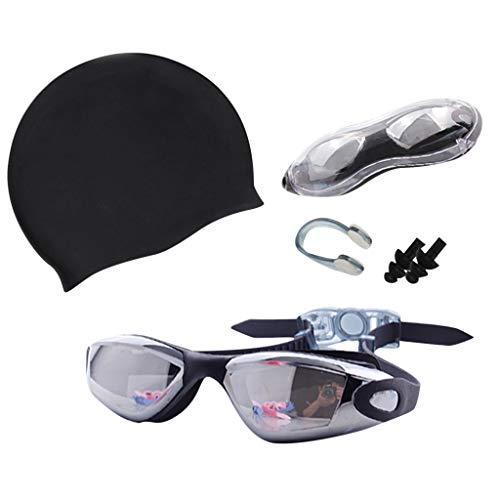 Haluoo Swim Cap Swim Goggles Set, Anti-Fog UV Protection Coated Lens No Leaking Swimming Goggles with Swim Cap, Nose Clip, Earplugs, Case for Adult Men Women (Black)