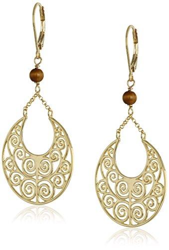 Gold Tigers Eye Earrings (18k Yellow Gold Plated Sterling Silver Genuine Tiger Eye Dangle Earrings)