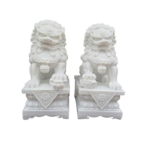 (A Pair of White Stone Guardian Statues,Beijing Lions Pair Fu Foo Dogs,Chinese Feng Shui Decor for Home and Office Attract Wealth and Good Luck Best Gift,Three Sizes,Large)