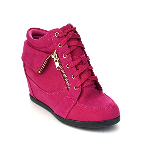 LINK GLADYS-24K Children Girl's Comfort Hidden Wedge Lace Up Ankle Sneakers, Color:FUCHSIA, Size:4