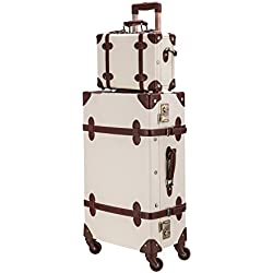 """CO-Z Premium Vintage Luggage Sets 24"""" Trolley Suitcase and 12"""" Hand Bag Set with TSA Locks (Pink + Beige) (12"""" +24"""" White)"""