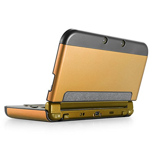 TNP New 3DS XL Case (Gold) - Plastic + Aluminium Full Body Protective Snap-on Hard Shell Skin Case Cover for New Nintendo 3DS LL XL 2015