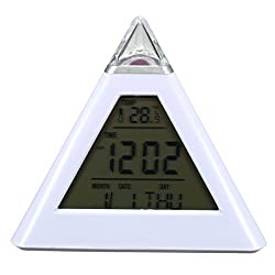 Besplore 7 Color Changing Alarm Clock,Pyramid LED Alarm Clock,Creative Triangle,Sound Thermometer Calendar