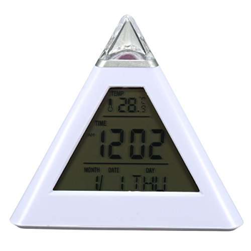 Besplore 7 Color Changing Alarm Clock,Pyramid LED Alarm Clock,Creative Triangle,Sound Thermometer - Years New Clock Countdown