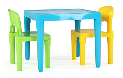 Tot Tutors Kids Table and 2 Chairs Set, Aqua/Green Yellow, Toddler, Green&Yellow