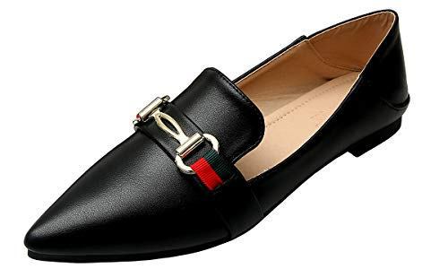 Modenpeak Womens Ballet Flats Classic Horsebit Pointy Toe Slip On Comfort Dress Shoes Black 10.5