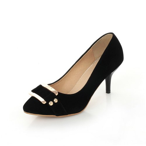 VogueZone009 Womens Solid Stiletto Closed Pointed Toes frosting Suede Pumps with Metal Buckles Black ECyjOO