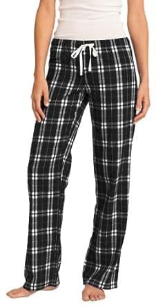 District Women's Elastic Waistband Flannel Plaid Pant_Black_Medium
