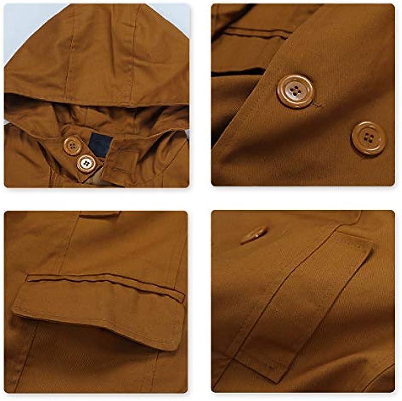 AOWOFS męski trencz z kapturem, krÓtki, regularny krÓj, płaszcz na wiosnę, lato, jesień - trencz l: Odzież