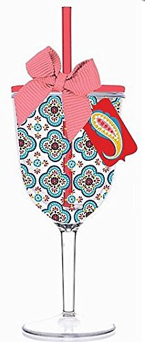 Fiesta-Aqua-Quatrefoil-Double-Wall-Acrylic-Wine-Glass