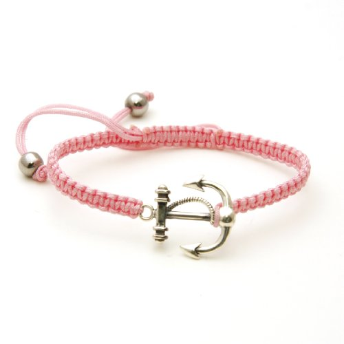 Light Fisherman Pendant - Braided Rope Fashion Bracelet w/ Sterling Silver Anchor & Rope Pendant (Light Pink)