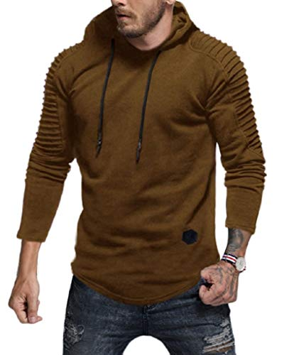 Fenxxxl 2018 Mens Fashion Big and Tall Pullover T-Shirt Pleated Drawstring Gym Hoodies Sweatshirt F124 Khaki ()