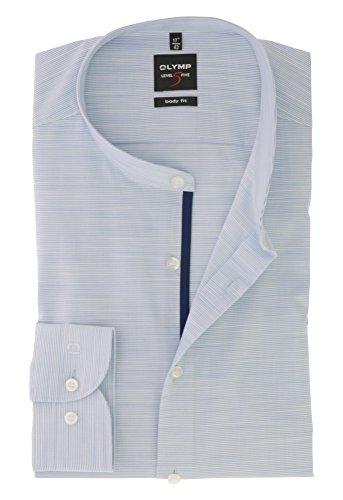OLYMP Herren Langarm Business & Freizeit Hemd Level Five Body Fit mit Stehbund Kragen Comfort Stretch & Bügelleicht Gr.37 Bleu Weiss Gestreift