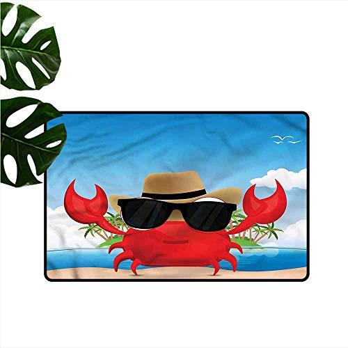 HOMEDD Modern Doormat,Crabs Crustacean Sunglasses Hat,Anti-Slip Doormat Footpad Machine -