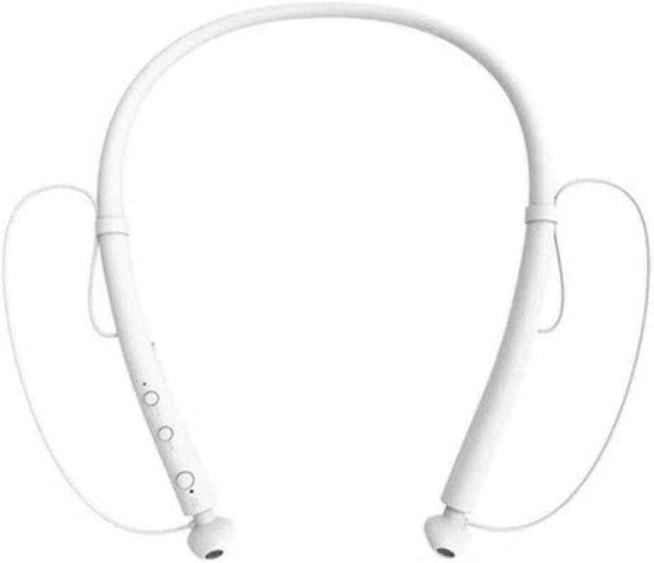 chachacha Sports Neck Hanging Wireless Bluetooth Headset Double Ear 5.0 Stereo Ultra Long Standby Waterproof Heavy Bass Headphones  Ivory White