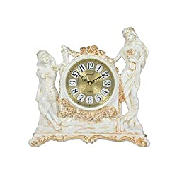 YAOHAOHAO Pastoral Care of Ivory White Resin Carved Goddess Vintage 10-Customs Hours Silent Seats Bell Artistic Antique Clock Welcome