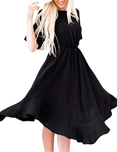 MEROKEETY Women's Summer Short Sleeve Empire Waist Irregular Hem Pleated Swing Midi Dress Black (Black Sleeve Empire Dress In Short)