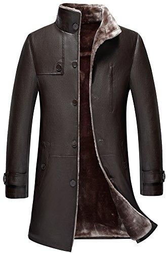 WS668 Haute Qualite Homme Longue Hiver Épais Chaud Fourrure Cuir Manteaux Parka Outdoor Trench-Coat Veste Blousons…