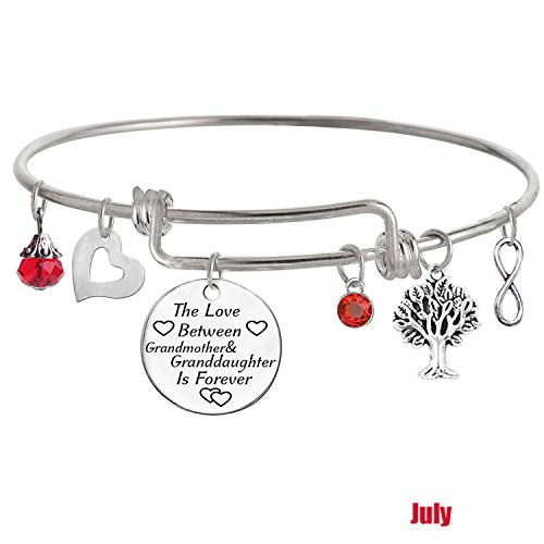 TISDA The Love between a Grandmother and Granddaughter is Forever Bracelet Family Jewelry Christmas Gift (G July)